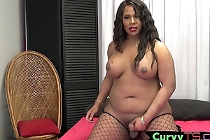 Sexy ebony bbw shelady gets her cock out