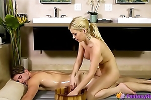 Busty Blonde Masseuse Loves Hardcore Anal