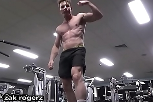 Sexy New Years Eve Gym Shirtless Flex then Horny Shower - its Just Huge Cock Zak Rogerz Movie