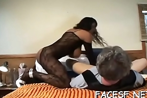 Indulge gets her amah interrupted by thrall in horny femdom conduct oneself