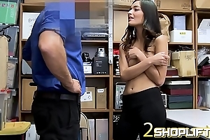 Emily Willis plays shy with mall cop
