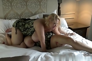 Busty BBW Smantha 38g with girlfriend are vendetta on the huge bed