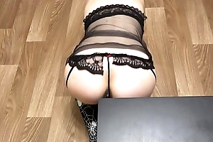 Silver-tongued blonde with a succulent ass in titillating lingerie fucked with dildo doggystyle.
