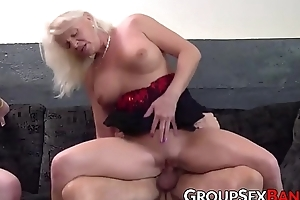 Be in charge matured lady sucking and fucking with two males