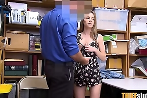 Extra cute blonde shoplifter sucks a cock for freedom