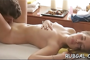 Oiled hotty offers her pussy for a dazzling copulation action