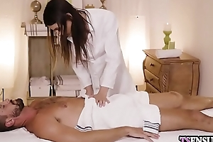 Angry busty ladyboy grabbed a males fat dick at massage