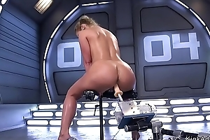 Huge tits oiled Milf fucking machine