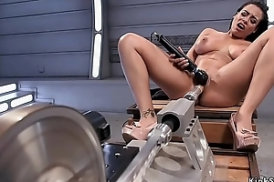Strapping tits sweat Latina fucks utensil