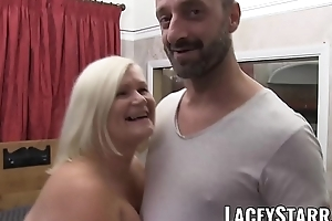 LACEYSTARR - Drop out of sight clad granny gets interracial spitroast