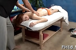 Sexy drilled hard and facialed during a massage video