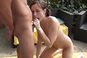 german daughter with big soul gets hot creampie from the brush step dad