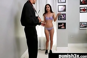 Shy Cutie Bound &amp_ Drilled Doggy position Out of reach of a Casting Couch - Mila Drill-hole