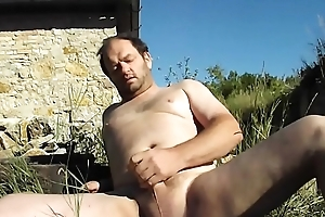 An adult man after working wide the section decided to pinch-hit wait out plus jerk his dick! Merely masturbation gay outdoors!