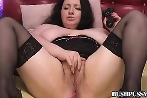 BBW fucks the brush hairy bush with dark dildo