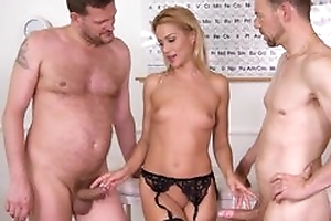 Nice cute office worker plays approximately her pussy encircling baleful nylons together with being drilled by 2 studs
