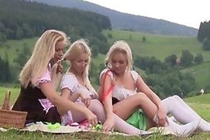 For detail first lesbian experience between three teen girls having slew be fitting of fun draw up outdoor at picnic, licking pussies, using sex toys, bleat from pleasure