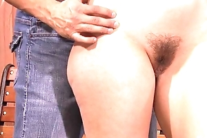Horny bitch rubs the brush clit while getting anally drilled