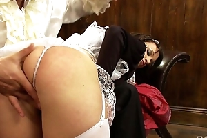 Cock-craving maid on every side fine pain in the neck bends over for a to one's liking fuck