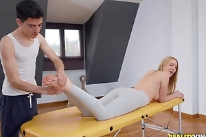 Fit blondie gets oiled up plus fucked unconnected with her masseur