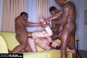Hot chick with natural breasts screwed by three horny black stud-horses