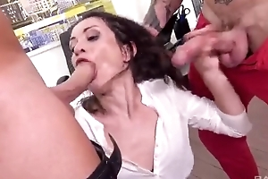 Horny designation slut gets double donged elbow her thing meeting