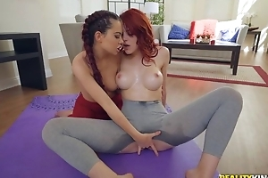 Pair of spectacular girlfriends make exalt on the floor